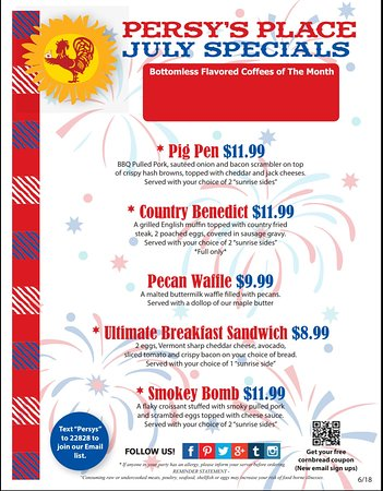 Persy's Place: July Specials