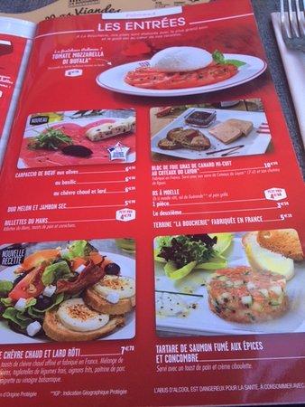 Restaurant La Boucherie Carte