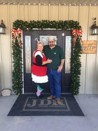 Valley Mills, TX: Jimmy Don and Lori Holmes celebrating Christmas at the shop