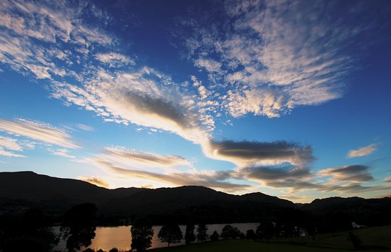 Bank Ground Farm - B&B and self-catering cottages: Coniston Water and the evening sky
