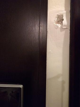 Lakshya's Hotel: big deep patch on wall