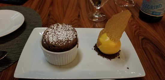 Aureole: Chocolate souffle and passionfruit sorbet