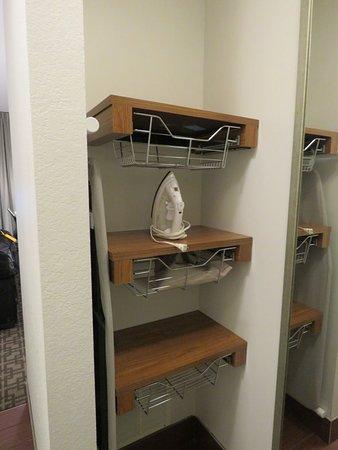 Hilton Garden Inn San Antonio-Live Oak Conference Center: Closet shelving - hair dryer in closet, not in bathroom