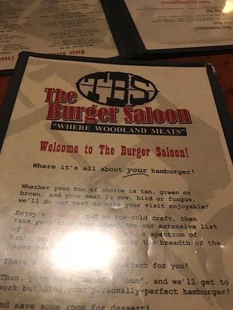 The Burger Saloon: Menu