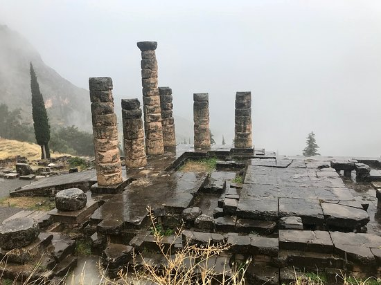 Private Greece Tours: Delphi on a rainy day in June.