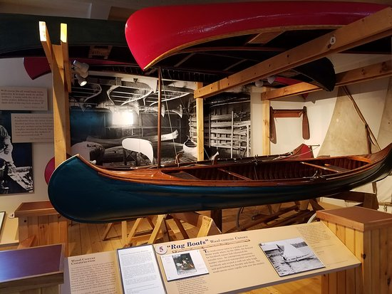 Blue Mountain Lake, NY: Painted canvas boats came into style in the1800s when wood for lighter more labor intensive birc
