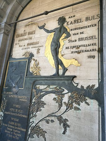 Charles Buls or Karel Buls monument at Grand Place building.