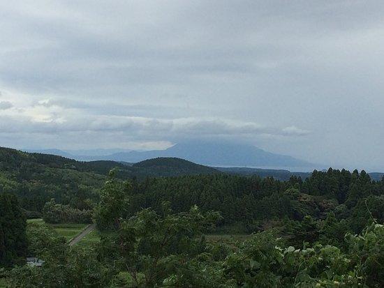 Kirishima Shrine: the view from the shrine. Sekurajima in the background