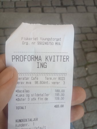 Fiskeriet Youngstorget: The bill