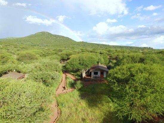 Isoitok Camp - Manyara: Eagles view of the camp and surrounding Losimingori mountains