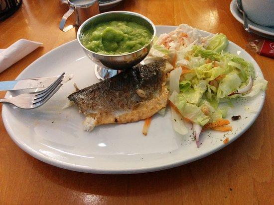 Sea Breeze Fish & Chips: Grilled Sea Bass, Mushy Peas, Salad