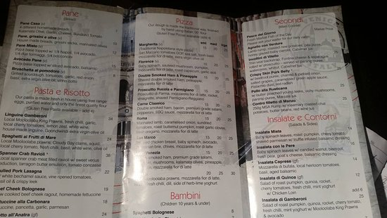 Bella Venezia Restaurant & Bar: This is the take away menu dining is a bit dearer