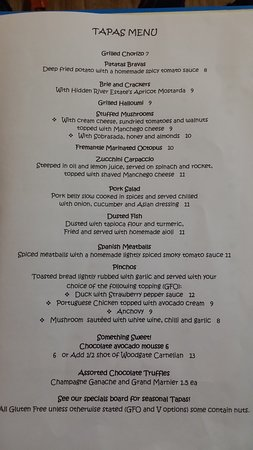 Treehouse Tapas and Wine Bar: Menu found by me adam suesee