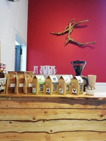 Barony Bistro: coffee, tea pigs, latte, driftwood, ship-lap panels