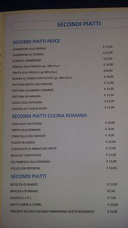 Riano, Italy: menu'