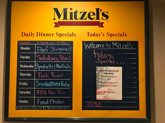Mitzel's American Kitchen: Daily dinner specials and today's special