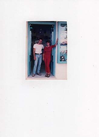 The Blue House Art Gallery: First year 1998, the owners Vassilis and Areti.