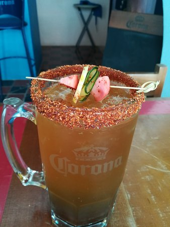 "La María Cocina Peninsular: Our Tamarind ""michelada"" is a drink based on spices, habanero chili and tamarind pulp."