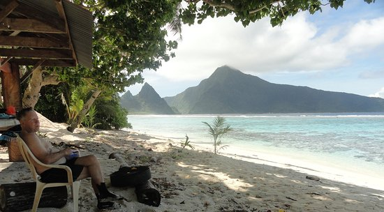 Roger relaxing at a beach on Ofu