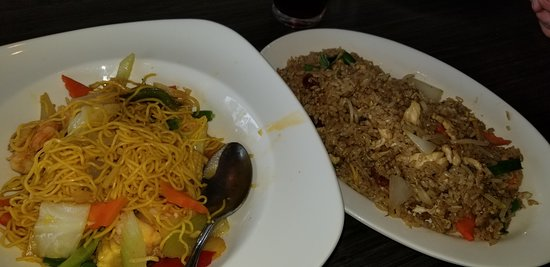 Yelm, WA: Yellow Chow Mein Noodles w/Prawns and Yang Chow Fried Rice