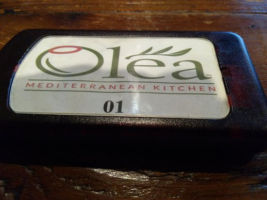 Olea Mediterranean Kitchen: Buzzer for when your food is ready.