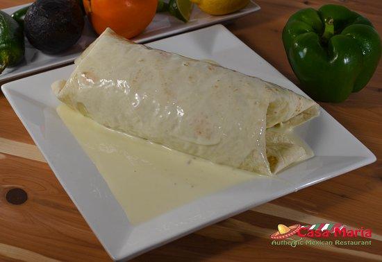 Casa Maria Mexican Cuisine: California Burrito: 12-inch flour tortilla stuffed with thin-slice grilled chicken, rice