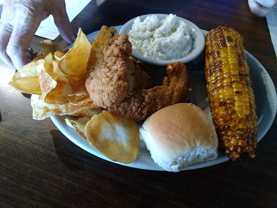 When Pigs Fly of Ashe: Chicken tenders, fried corn.