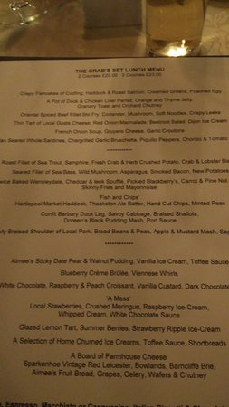 Crab & Lobster Restaurant: Lunch menu