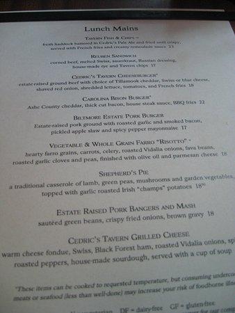 Cedric's Tavern - Biltmore Estate: lunch menu