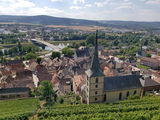 Gaststatte Burgterrasse Auf Der Burg Clingenburg: The view from the terrace with the vineyard and the town of Klingenburg am Main
