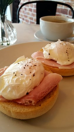 Poached egg & ham on muffin for breakfast!