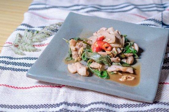 Tai Yar Grandma's: 炒山豬肉 - Sautéed Wild Boar, Basil, Garlic  with Satay Sauce