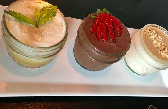 dessert trio chocolate mousse lemon parfait and pana cotta rh tripadvisor ca