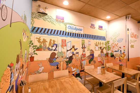 Chickpea Restaurant: Tel Aviv Section- the mural represents a busy TLV feel