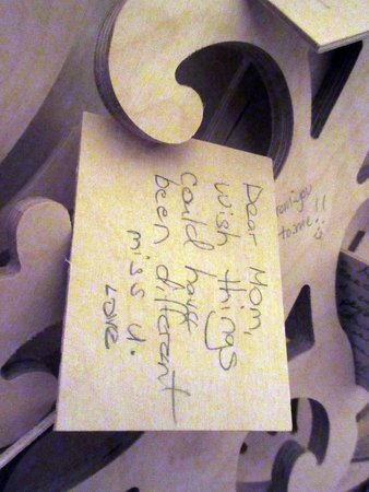 """Renwick Gallery: Memorial note left in the wall of the Temple at the """"No Spectators"""" Exhibition."""