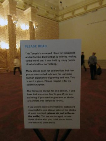 Renwick Gallery: An explanation of the Temple. Art of Burning Man Exhibition.