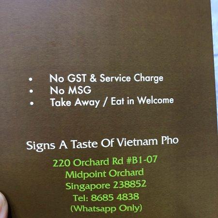 Signs A Taste Of Vietnam Pho: 問合せはメッセージのみなのでご注意