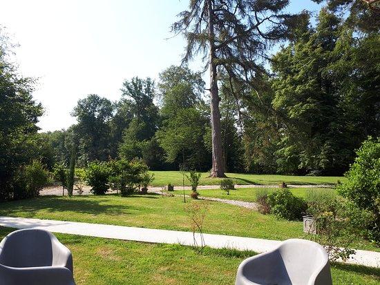 Grèges, France: La vue de la terrasse du petit déjeuner sur le parc