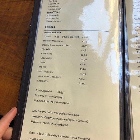 St Giles Cafe & Bar: The menu at St Giles Café and Bar.