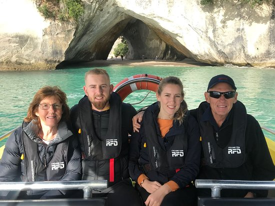 """Ocean Leopard Tours: Cathedral Cove while on """"The Full Monty"""" Sea Leopard tour. 17 June 208."""