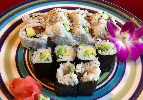 Nikko Sushi Japanese Restaurant: Avocado sushi and a salmon and avocado roll