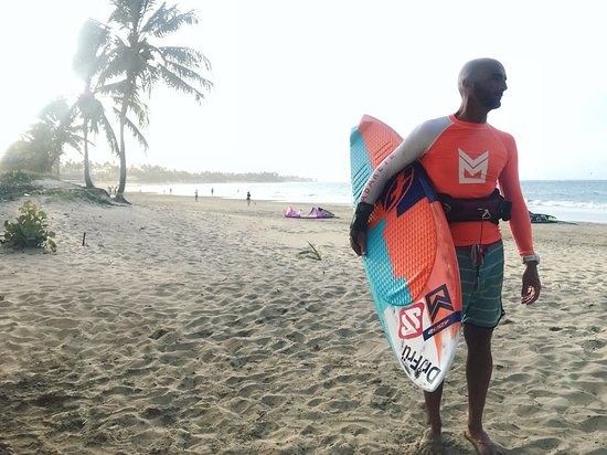 Liquid Blue Cabarete Water Sports Center: Gianluca coming in from another epic kiteboarding session in Cabarete.