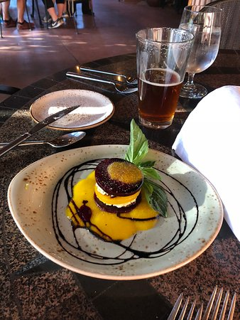 Desert Bistro: Red & Golden Beets layered with fresh basil pesto goat cheese