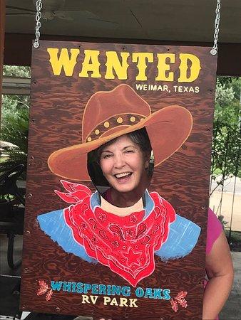 Weimar, TX: Cowboy Cutout in Pavilion