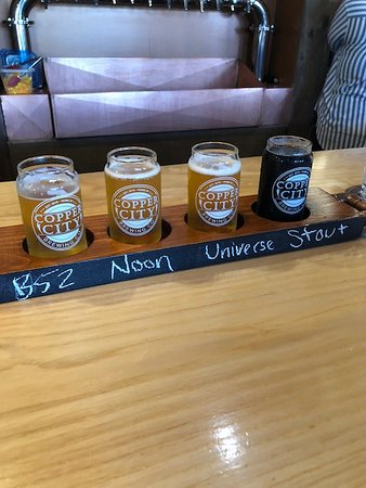 Copper City Brewing Company: A flight of 4 5oz beers for sampling