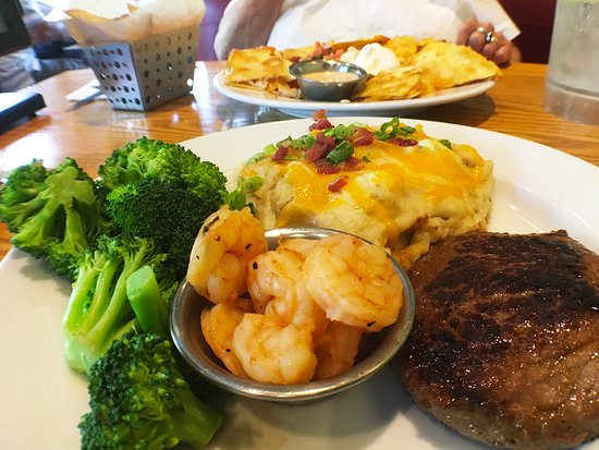 Somerset, MA: 6 oz sirloin steak with shrimp on the side.