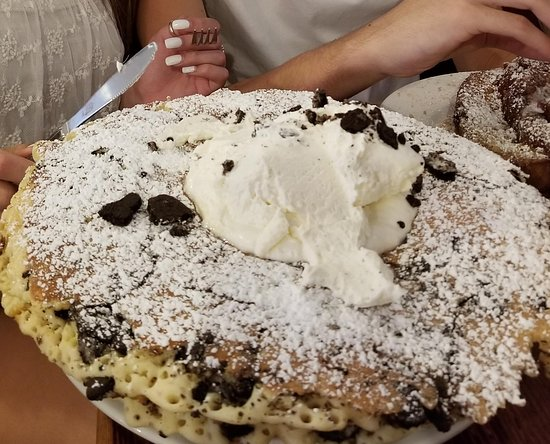 """The Griddle Cafe: This is the """"black magic"""" pancake with oreos and whipped cream."""