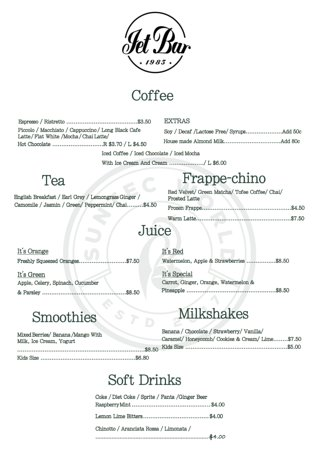 Jet Bar Caffe: Coffee/Tea/Juice/Frappe-chino/Milkshakes/Smothies