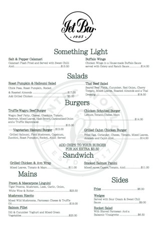Jet Bar Caffe: Something Light/Salads/Burgers/Sandwich