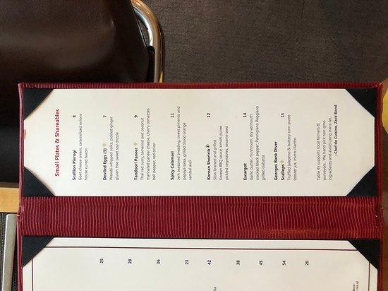 Table 45: menu